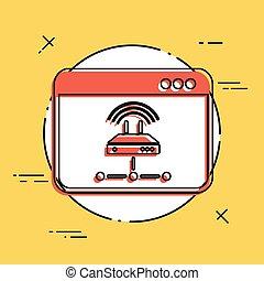 plat, netwerk, -, vector, router, minimaal, pictogram