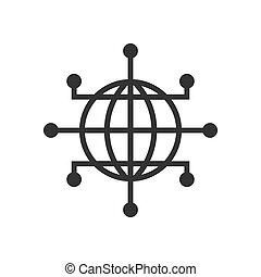 plat, netwerk, zakelijk, concept., globaal, vrijstaand, cyber, achtergrond., vector, illustratie, wereld, aarde, witte , style., pictogram