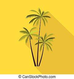 plat, noix coco, style, arbres, trois, paume, icône