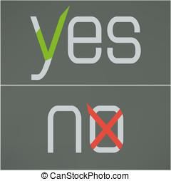 plat, non, bouton, checkmark., vecteur, oui, design.