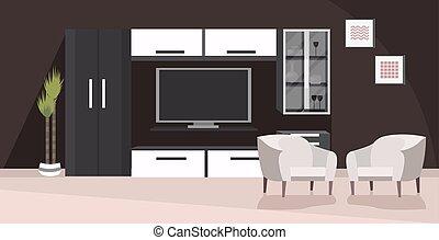 plat, non, meubles, moderne, intérieur, vivant, gens, salle,...