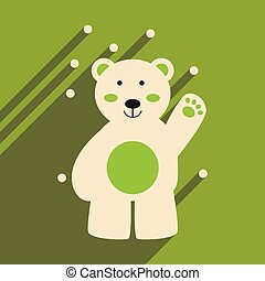 plat, noordelijk, beer, lang, schaduw, pictogram