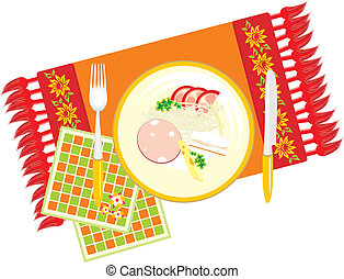 plat nourriture, serviette