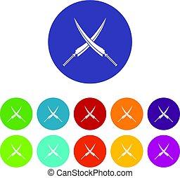 plat, nunchaku, vector, set, iconen