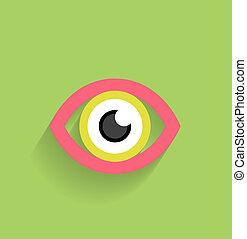 plat, oeil, moderne, vecteur, conception, icône