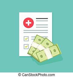 plat, of, vorm, illustratie, geld, medisch, idee, geld, kosten, spotprent, vector, gezondheid, geneeskunde, gezondheidszorg, stapel, spendings, document, verzekering, duur