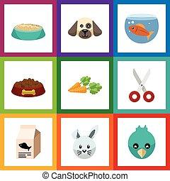 plat, oiseau, ensemble, elements., nourriture, fishbowl, cisailles, chien, chiot, aussi, vecteur, animaux familiers, substance nutritive, objects., inclut, autre, icône