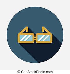 plat, ombre, icône, long, lunettes