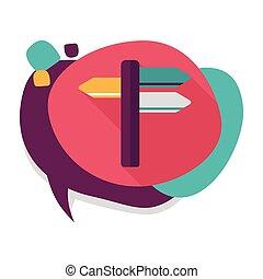 plat, ombre, icône, long, poteau indicateur