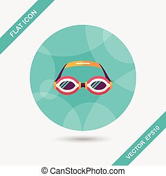 plat, ombre, long, lunettes protectrices, natation, icône
