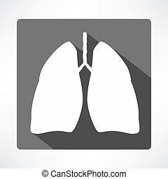 plat, ombre, long, poumons, icône