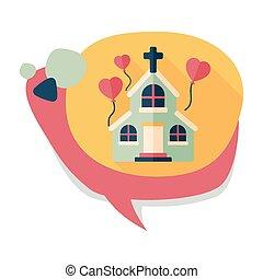 plat, ombre, mariage, long, église, icône