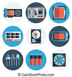 plat, onderdelen, elektronisch, iconen