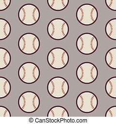 plat, ontspanning, model, seamless, vector, honkbal, activiteit, sportende