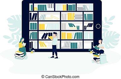 plat, ontwerp, boekjes , mensen, lezen