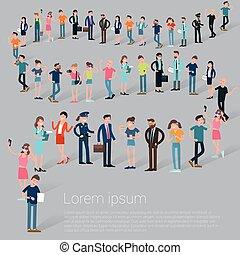 plat, ontwerp, c, mensen, bediening in de lijn