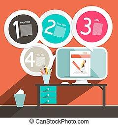 plat, ontwerp, computer, kantoor, -, vector, ui, mal, infographics, opmaak, tafel