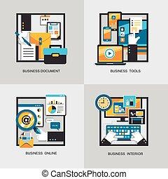 plat, ontwerp, concept, set, zakelijk