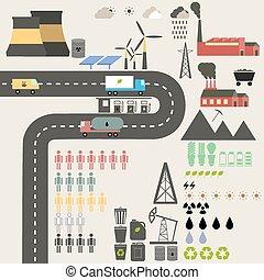 plat, ontwerp, concept, van, ecology.