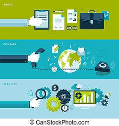 plat, ontwerp, concepten, voor, diensten