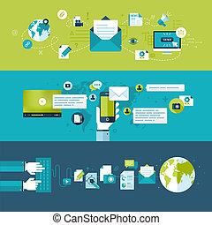 plat, ontwerp, concepten, voor, email
