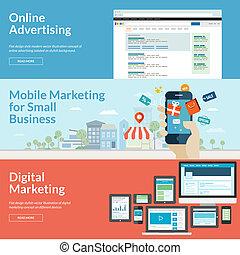 plat, ontwerp, concepten, voor, marketing