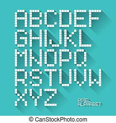 plat, ontwerp, pixel, alfabet