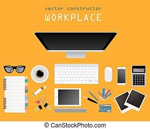 plat, ontwerp, plek, werkende