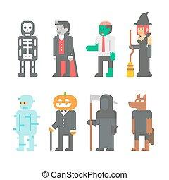 plat, ontwerp, set, halloween, mensen