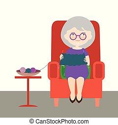 plat, ontwerp, spotprent, illustratie, van, een, oude vrouw, of, grootmoeder., zittende , in, een, rood, leunstoel, en, vervelend, een, trui, -, vector