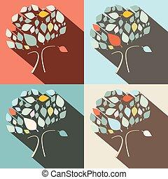 plat, ontwerp, vector, bomen, set