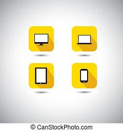plat, ontwerp, vector, pictogram, -, computer, draagbare computer, smartphone, &, tablet, symbols., dit, grafisch, illustratie, met, lang, schaduwen, ook, vertegenwoordigt, technologie, gadgets, zoals, pc, cellphone, notepad, enz.
