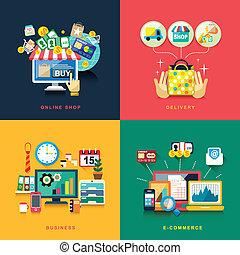 plat, ontwerp, voor, e-handel, aflevering, online boodschapend doend, zakelijk