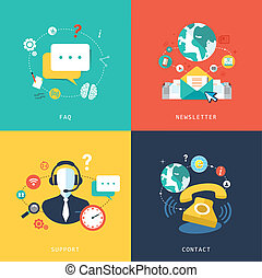 plat, ontwerp, voor, klantenservice/klantendienst, concept
