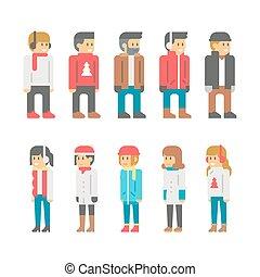 plat, ontwerp, winter, mensen
