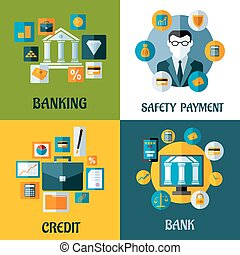 plat, ontwerpen, set, financieel, bankwezen