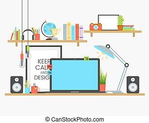plat, ontwerper, werkende , houten, op, werken, creatief, plek, team, ontwerp, tafel.
