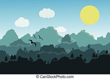plat, op, moon., landscape, bergen