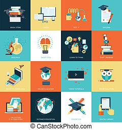 plat, opleiding, ontwerp, iconen