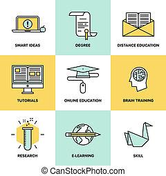 plat, opleiding, set, iconen, online onderwijs