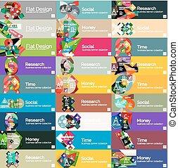 plat, optie, headers, infographic, ontwerp, banieren