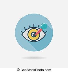 plat, optométrie, ombre, long, icône