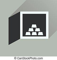 plat, or, sûr, long, ombre, icône