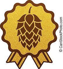 plat, or, toile, symbole, signe, bière, houblon, logo, étiquette, brasserie, icône