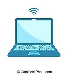plat, ordinateur portable, illustration, arrière-plan., isolé, blanc, vecteur, écran, vide