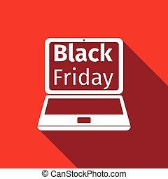 plat, ordinateur portable, vendredi, vente, long, vecteur, noir, illustration, écran, shadow., icône