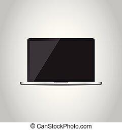 plat, ordinateur portatif, écran, gris, illustration, arrière-plan., vecteur, icon., blanc
