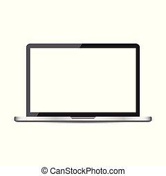 plat, ordinateur portatif, écran, illustration, arrière-plan., vecteur, icon., blanc