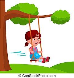 plat, oscillation, arbre, illustration, vecteur, attaché, branche, balançoire, girl, dessin animé