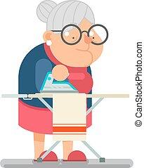 plat, oud, huisgezin, karakter, illustratie, vector, ontwerp, ijzer, oma, dame, spotprent, kleren